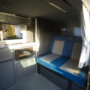 Rear conversion, incl. oven/grill, fridge, 2 ring burner and sink
