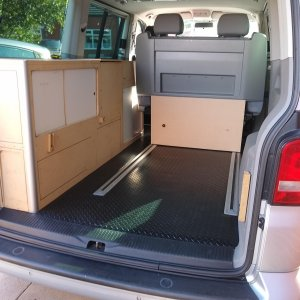 Rear interior with temporary mdf cupboard